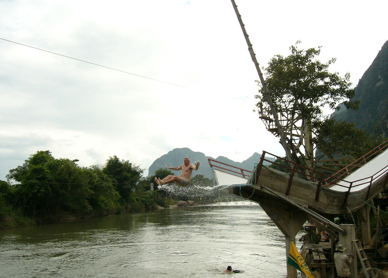 Keith goes off a big waterslide in Vang Vieng, Laos.