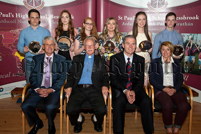 St Paul's High School Bessbrook, Senior Prizegiving on Thursday last.Pictured are students who received individual awards for Best Examination Results at GCE Advanced level,with Principle Mr Jarlath Burns, Mr John Campbell,Chairman of Governors,Very Rev Father Sean Larkin,PP, and guest speaker Miss Colleen Mallon.R1438704