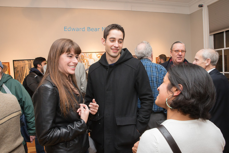 Lindsey Marchessault, Zach Mills, Sonia Sekhar. Photo by Alfredo Flores. Opening Reception for Edward Bear Miller Exhibit. Foundry Gala. January 4, 2013.