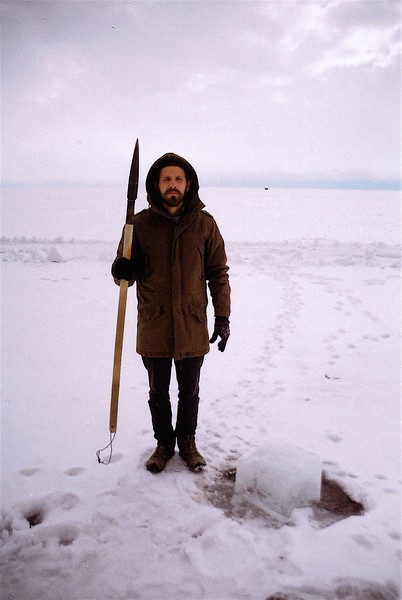 While staying with neutrino physicists in Siberia on the frozen surface of Lake Baikal, there was no running water. So, no toilets, no showers...the physicists don't shower at all for two months, so we didn't for the five days we were here either. We got all our water from a small hole in the ice, which usually had to be broken apart with a spear each morning after it froze again.  March 2014.