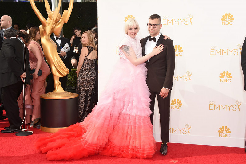 . Actress/director Lena Dunham and musician Jack Antonoff attend the 66th Annual Primetime Emmy Awards held at Nokia Theatre L.A. Live on August 25, 2014 in Los Angeles, California.  (Photo by Jason Merritt/Getty Images)