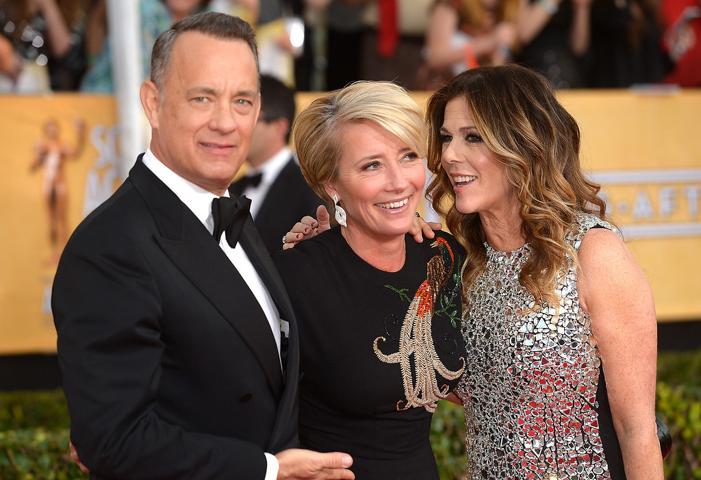 . Tom Hanks, Emma Thompson and Rita Wilson arrives at the 20th Annual Screen Actors Guild Awards  at the Shrine Auditorium in Los Angeles, California on Saturday January 18, 2014 (Photo by Michael Owen Baker / Los Angeles Daily News)