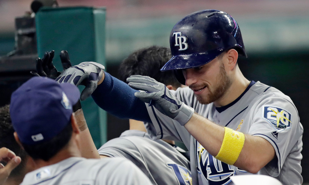 . Tampa Bay Rays\' Brandon Lowe is congratulated by teammates after hitting a solo home run in the ninth inning of a baseball game, Saturday, Sept. 1, 2018, in Cleveland. (AP Photo/Tony Dejak)