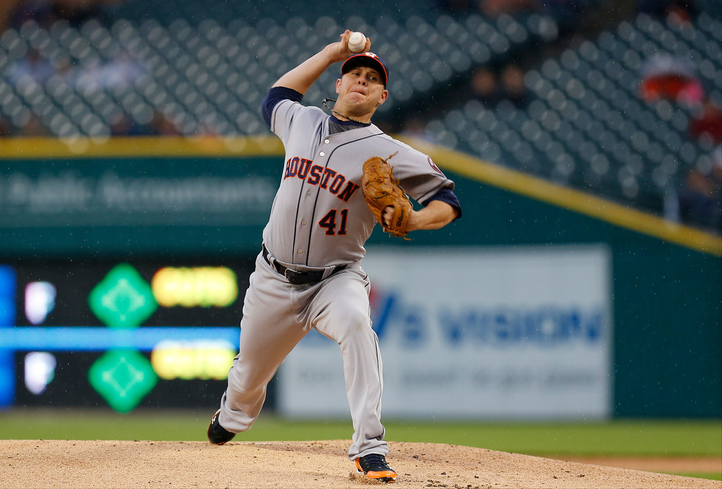 . Houston Astros pitcher Brad Peacock throws against the Detroit Tigers in the first inning of a baseball game in Detroit Wednesday, May 7, 2014. (AP Photo/Paul Sancya)