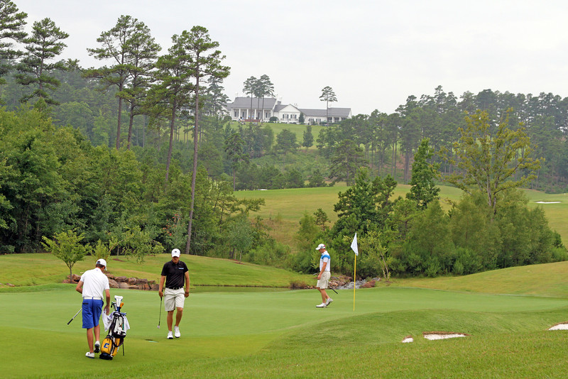 The club house at The Alotian Club can be seen high on a hill from multiple locations on the golf course. The 2013 Western Amateur took place from July 29 - August 4th in Roland, AR. (WGA Photo/Ian Yelton)