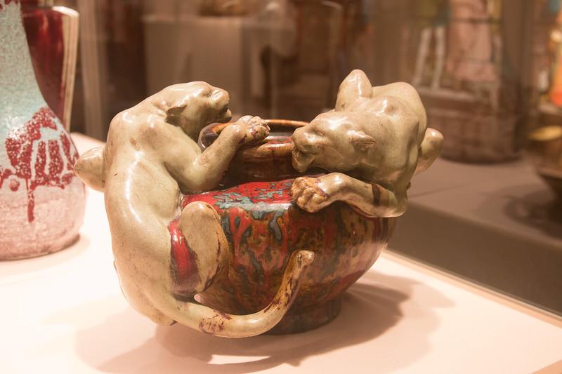 Bowl with Two Panthers, Pierre-Adrien Dalpayrat, stoneware, 1894-95 -- Metropolitan Museum of Art, New York