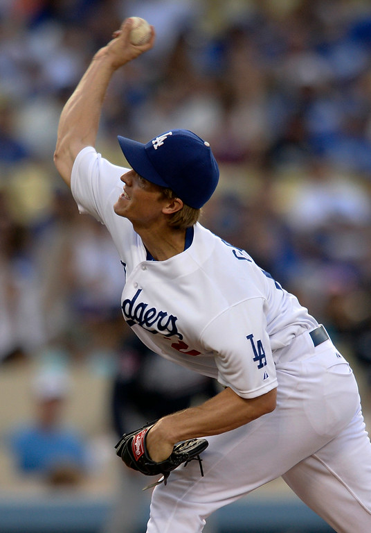 . Zack Greinke on the mound in the first inning. The Dodgers played host to the Atlanta Braves in a game played at Dodger Stadium in Los Angeles, CA. 7/30/2014(Photo by John McCoy Daily News)