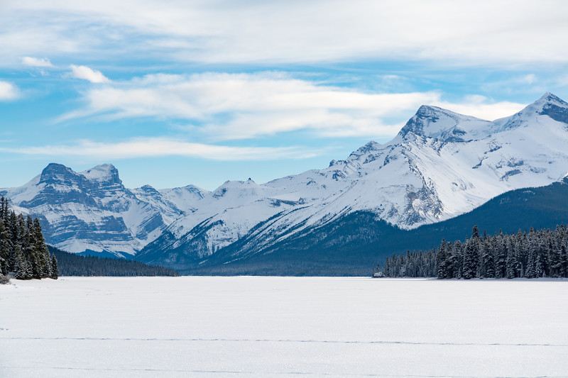 Queen Elizabeth Ranges from Maligne Lake