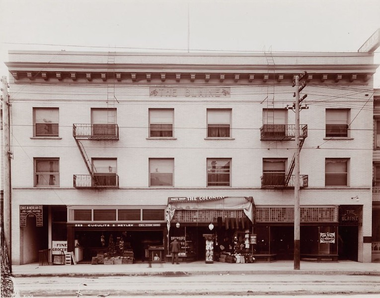 Exterior view of the Hotel Blaine in Los Angeles, ca.1900-1909