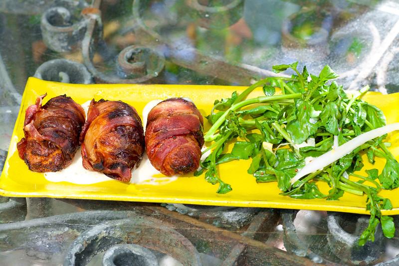 bacon wrapped dates  - linguiça, manchego