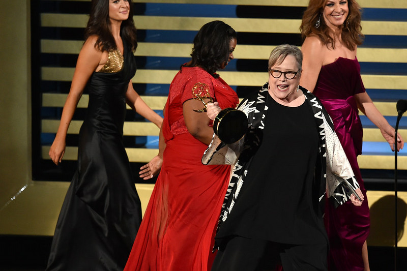 . Actress Kathy Bates (C) accepts Outstanding Supporting Actress in a Miniseries or Movie for \'American Horror Story: Coven\' from actresses Octavia Spencer and Allison Janney onstage at the 66th Annual Primetime Emmy Awards held at Nokia Theatre L.A. Live on August 25, 2014 in Los Angeles, California.  (Photo by Kevin Winter/Getty Images)