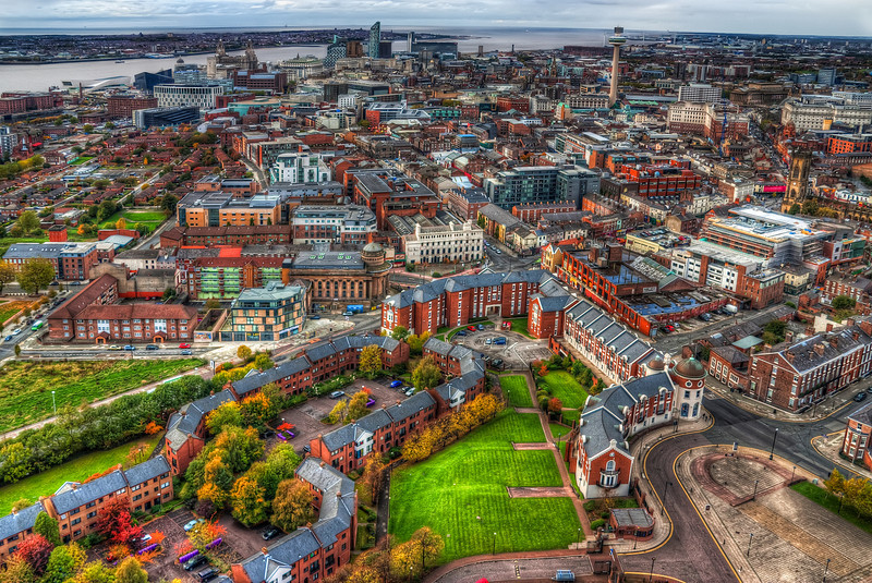 Liverpool Center  A look at the center of Liverpool as seen from the top of the Liverpool Cathedral. Would love to have a better camera here, as there is so much detail. Cant wait for the 5D mark III to come out, so I can buy it immediately :)  HDR from three shots, taken with Canon 450D with Sigma 10-20mm lens, handheld.