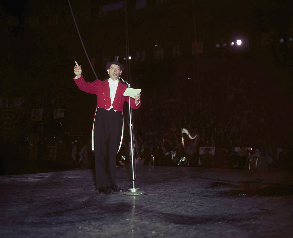 . Actor Milton Berle, shown as master of ceremonies on March 30, 1955 at Madison Square Garden. (AP Photo)