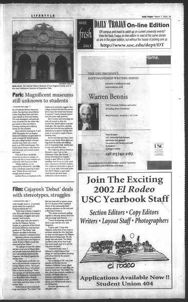 Daily Trojan, Vol. 142, No. 38, March 07, 2001