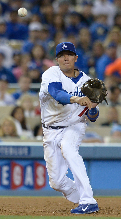 . Miguel Rojas. The Dodgers defeated the Colorado Rockies at 4-2 Dodger Stadium in Los Angeles, CA. 6/18/2014(Photo by John McCoy Daily News)