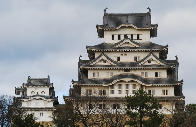 """Front view of Himeji Castle This castle has appeared in many films and TV series, including the 007 film """"You Only Live Twice"""" and """"The Last Samurai""""  (C) 2009 Brian Neal"""