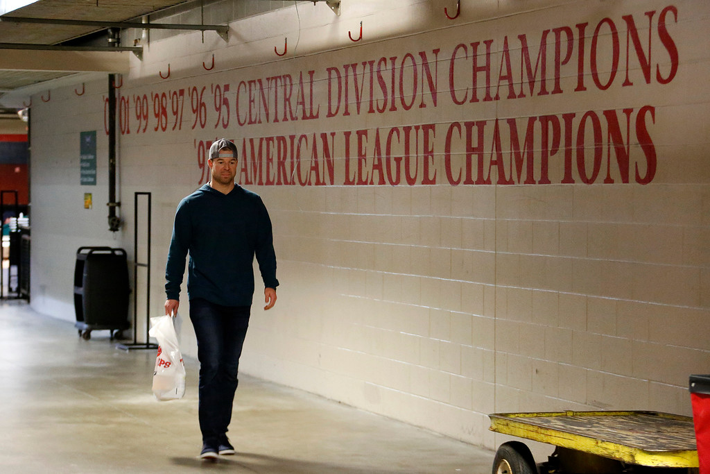 . Cleveland Indians starting pitcher Corey Kluber leaves the Progressive Field locker room after clearing out his locker, Thursday, Nov. 3, 2016 in Cleveland. The Indians lost Game 7 of baseball\'s World Series, 8-7 to the Chicago Cubs Wednesday night. (AP Photo/Gene J. Puskar)