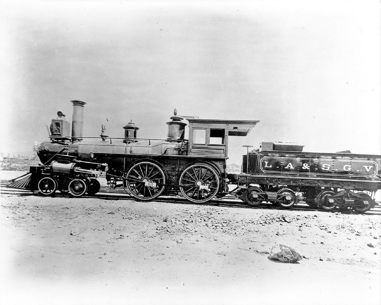 Los Angeles and San Gabriel Valley Railroad Depot at Alison Street and Anderson Street, Los Angeles, 1884