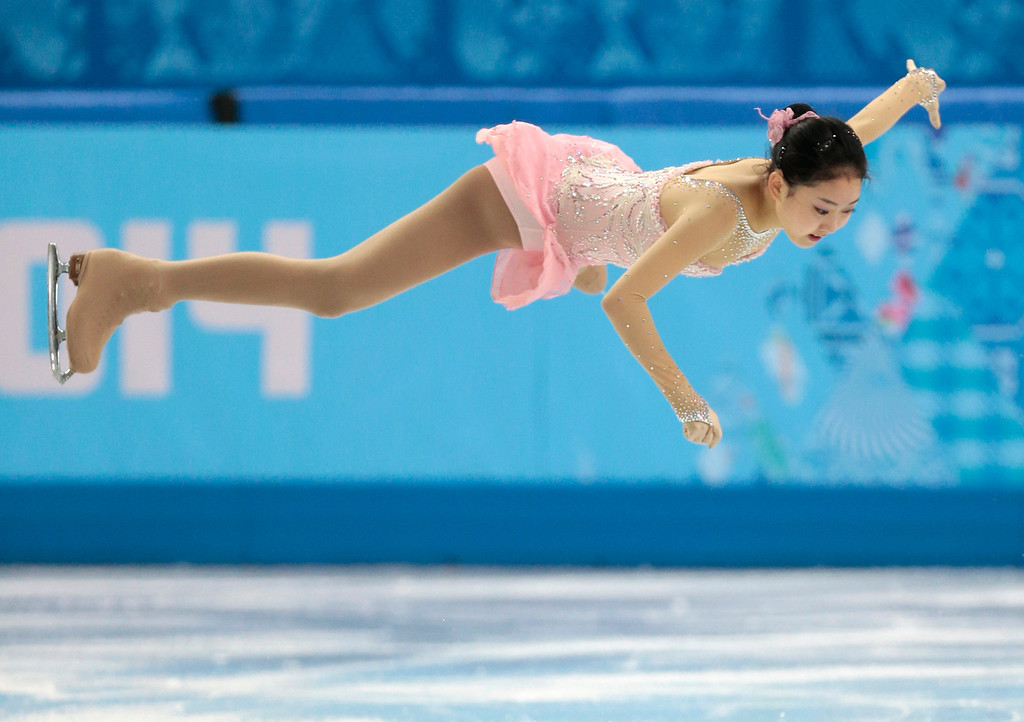 . Li Zijun of China competes in the women\'s free skate figure skating finals at the Iceberg Skating Palace during the 2014 Winter Olympics, Thursday, Feb. 20, 2014, in Sochi, Russia. (AP Photo/Ivan Sekretarev)
