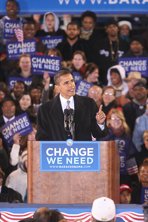 Barack Obama Speaks at Harbor Park before approx. 20,000 a week before Elections