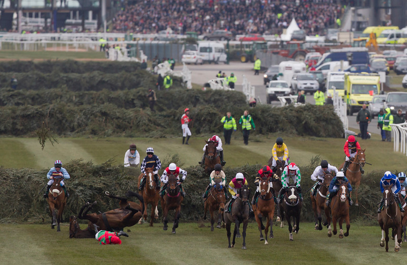 . Liam Treadwell , bottom left, falls from Regal D\'estruval at the fence before Beechers Brook during the Steeple Chase, on Ladies\' Day at Aintree Racecourse Liverpool, England, Friday, April 5, 2013. (AP Photo/Jon Super)