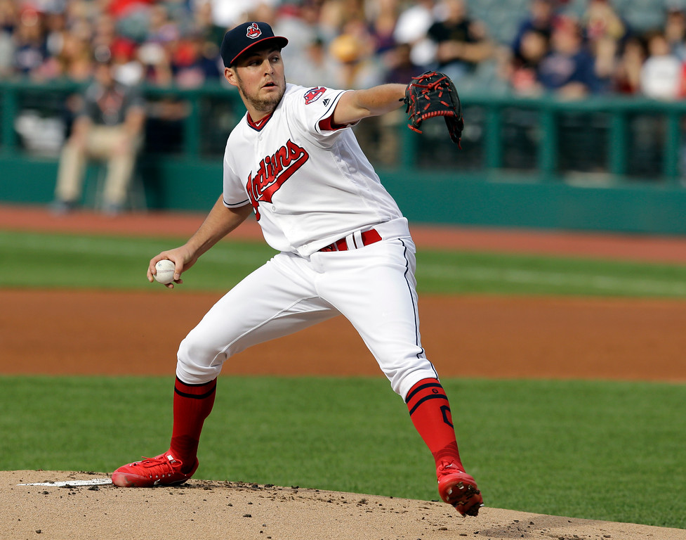 . Cleveland Indians starting pitcher Trevor Bauer delivers in the first inning of a baseball game against the Oakland Athletics, Tuesday, May 30, 2017, in Cleveland. (AP Photo/Tony Dejak)