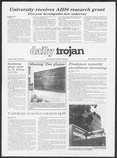 Daily Trojan, Vol. 100, No. 22, October 02, 1985