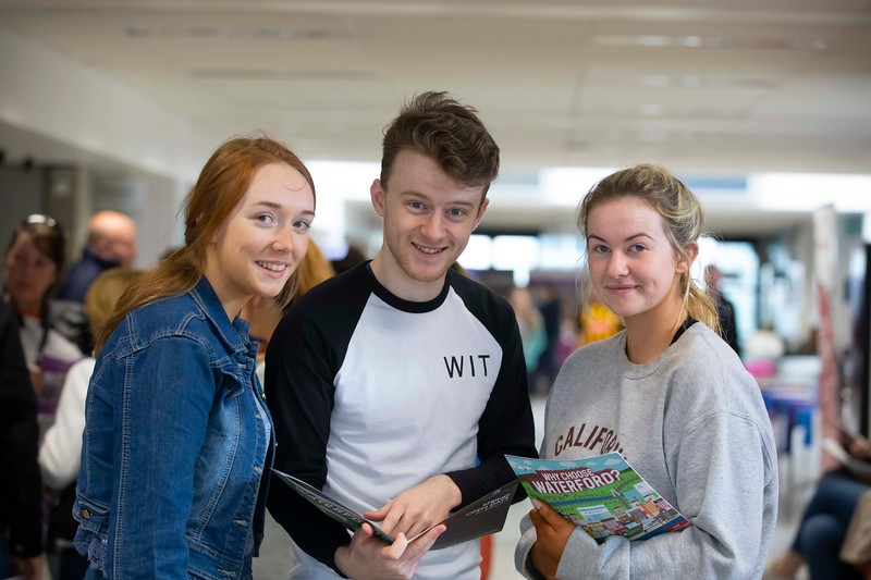 30/03/2019. FREE TO USE IMAGE. Thousands of CAO, part-time and postgraduate applicants visited WIT's Spring open events on Friday evening and Saturday morning. WIT is Ireland's top ranked institute of technology. Pictured are Chloe O'Toole and Tia Byrne from Gorey with Eoin Breen WIT student ambassador . Picture: Patrick Browne