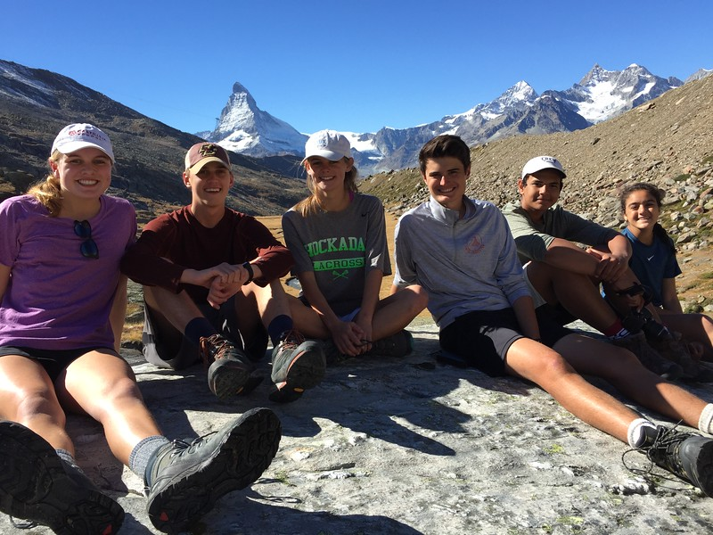"Annika, Billy, Shea, Matthew, Neel, and Sophia resting in ""hidden valley"" during an afternoon hike"
