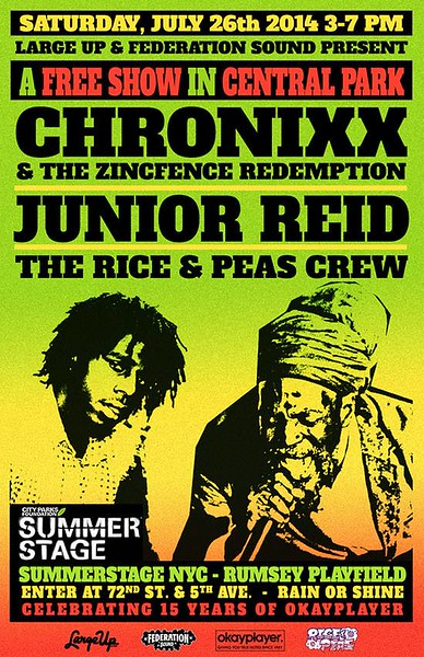 Chronixx & The Zinc Fence Redemption Live at Summer Stage Central Park (7.26.14)