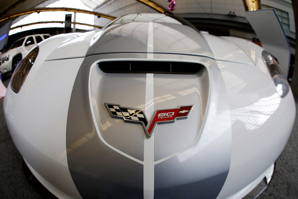 . This photo taken with a fisheye lens on Feb. 14, 2013 shows a 2013 Corvette ZR1  on display at the 2013 Pittsburgh Auto Show in Pittsburgh. (AP Photo/Gene J. Puskar)