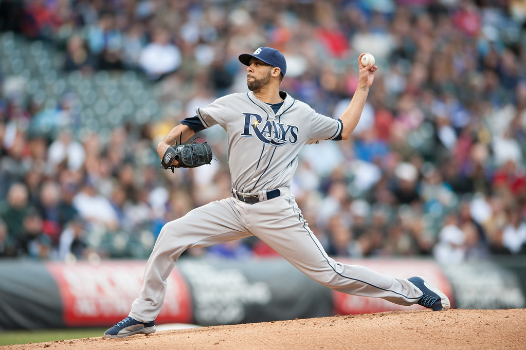 . DENVER, CO - MAY 4:  David Price #14 of the Tampa Bay Rays pitches in the first inning of a game against the Colorado Rockies at Coors Field on May 4, 2013 in Denver, Colorado. The Rockies led the Rays 1-0 after one inning. (Photo by Dustin Bradford/Getty Images)