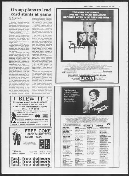 Daily Trojan, Vol. 91, No. 18, September 25, 1981