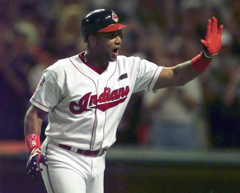 . The Cleveland Indians\' Sandy Alomar reacts to the crowd after his two-run home run in the seventh inning of the All-Star Game Tuesday July 8, 1997, in Cleveland.  The American League won 3-1 and Alomar was named MVP.  (AP Photo/Beth A. Keiser)