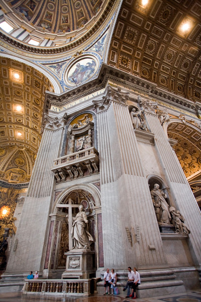 Interior of Saint Peter's Basilica, with Saint Helen bearing a cross, statue by Andrea Bolgi (1635)