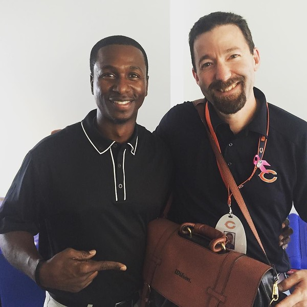 21 years ago this @chicagobears CB was kind enough to give a PR intern this briefcase for the holidays. How come the briefcase and I have aged but he hasn't?!? Great to see you DJ - best of luck with your @philadelphiaeagles (except on 9/19)!