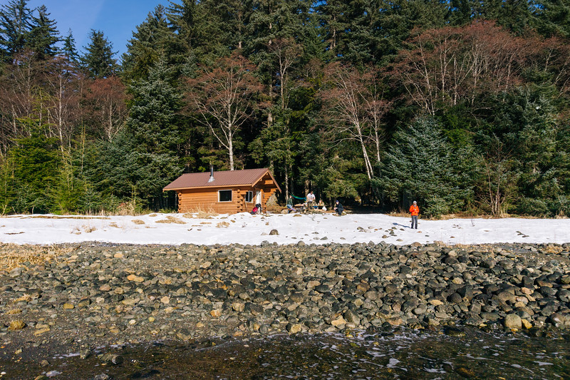 Camping Cove cabin on the coast of Point Bridget State Park.