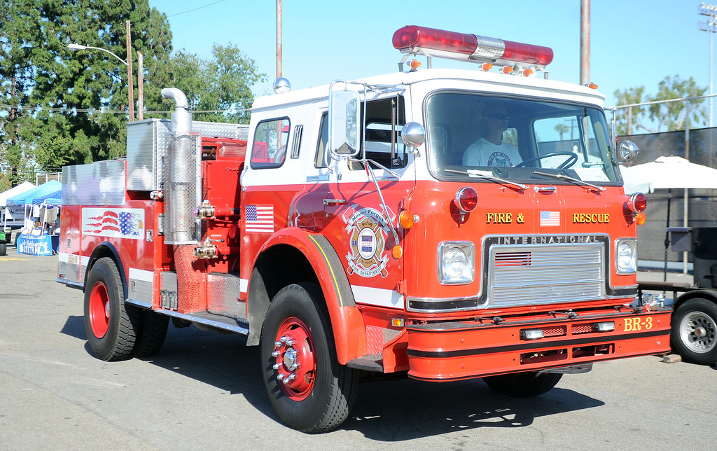. A vintage fire truck during the 4th annual La Habra Highlanders car show at La Habra High School in La Habra Calif. on Saturday, Sept. 7, 2013.   (Photo by Keith Birmingham/Pasadena Star-News)