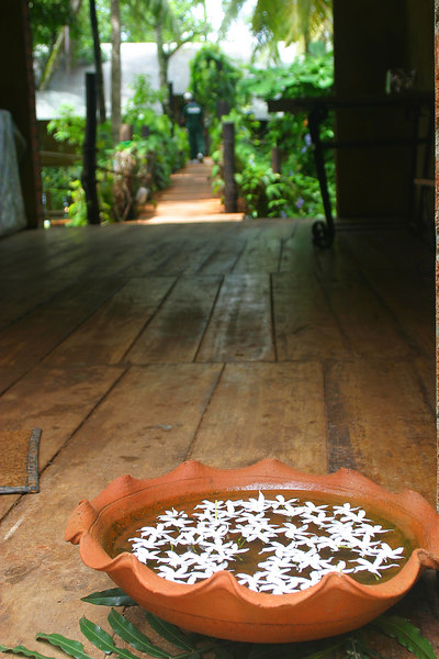 The entrance to Totupola.  The flowers in a basin of water is quite traditional.