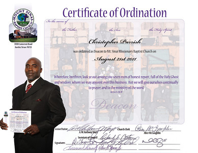 August 2011 Deacon Ordination Keedjit™ Certificates