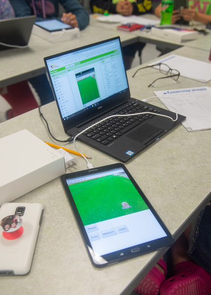 A Mole Mash game created by one of the students of the Girls Code Camp.