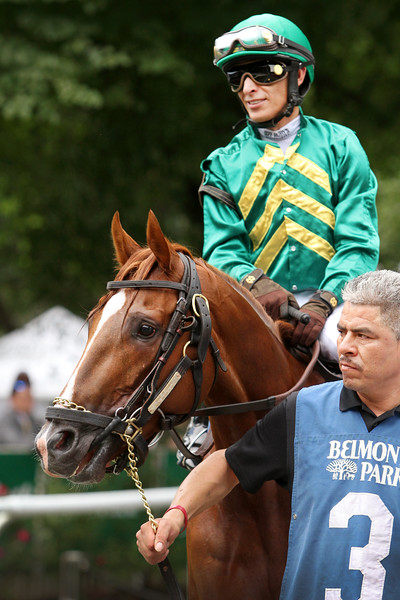 Code of Honor (Noble Mission) and jockey John Velazquez win the Dwyer (Gr III) at Belmont Park 7/6/19. Trainer: Claude R. McGaughey III. Owner: W.S. Farish