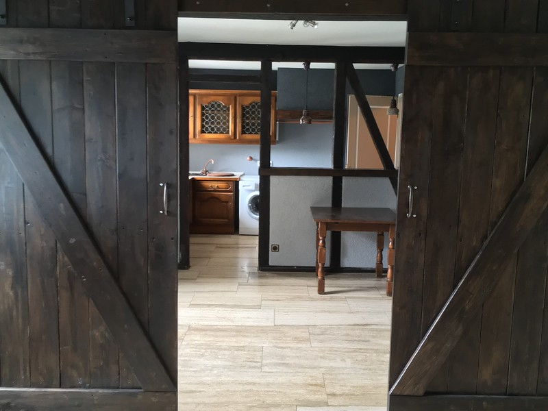 Barn doors made with reclaimed wood from the terrace, leads into a bedroom/walk-in closet and laundry room.