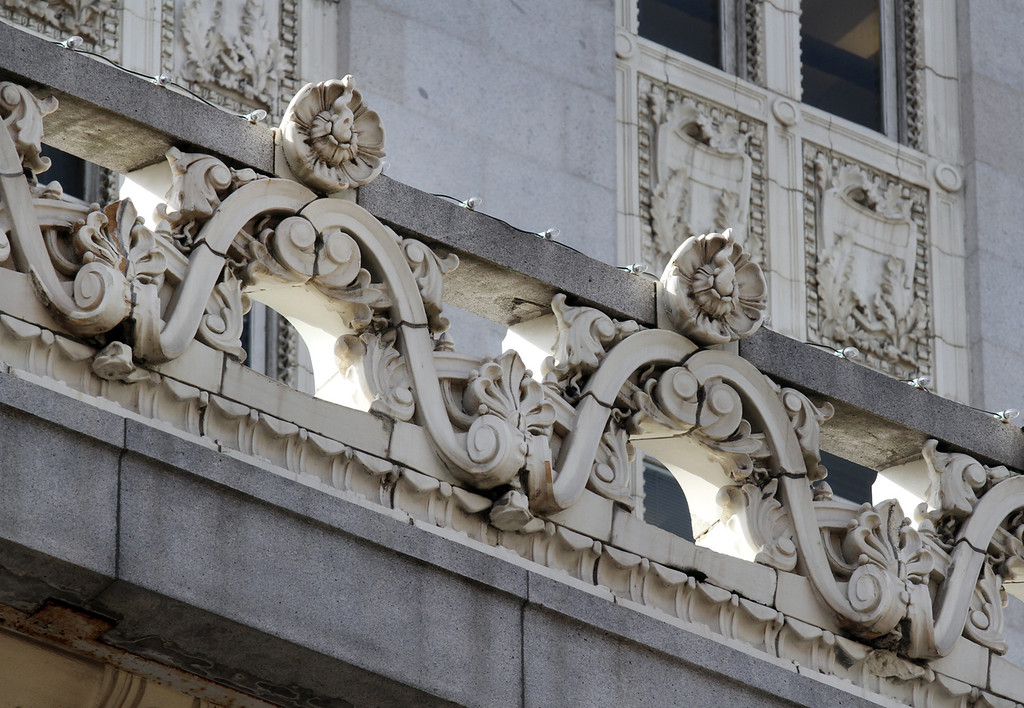 . Oakland City Hall has some of the most ornate details adorning the building tops in downtown Oakland, Calif., on Tuesday, Jan. 29, 2013.(Laura A. Oda/Staff)