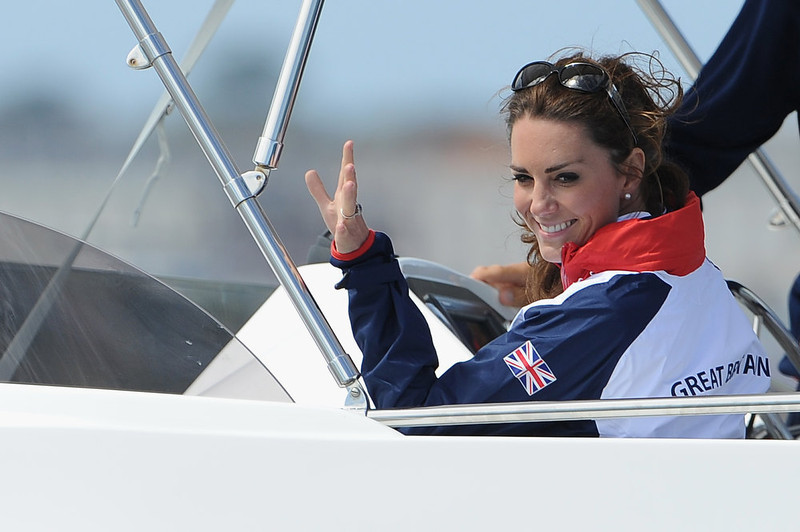 . Catherine, Duchess of Cambridge waves to a British competitor during the Women\'s Laser Radials race on Day 10 of the London 2012 Olympic Games at the Weymouth & Portland Venue at Weymouth Harbour on August 6, 2012 in Weymouth, England. Kate Middleton ranked as Google\'s second most searched trending person of 2012. Her name ranked sixth in searches overall. (Photo by Pascal Le Segretain/Getty Images)