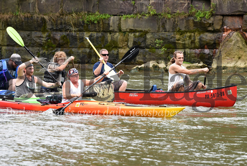 Harold Aughton/Butler Eagle: Canoe and Kayak enthusiasts gathered Saturday for the Allegheny Aquatic Alliance's seond annual race. The 7.5 mile race began along Cove's Road in Harmony and finished at in Fombell at Christian's Canoe Launch.