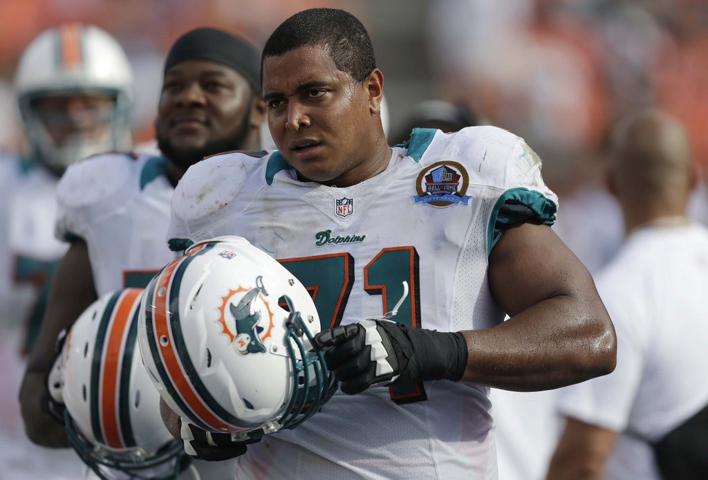 . <p><b>14. JONATHAN MARTIN</b> <p>Bullied Dolphin upset Broncos ignored his advice to quit during second quarter. <p>   (AP Photo/Wilfredo Lee, File)