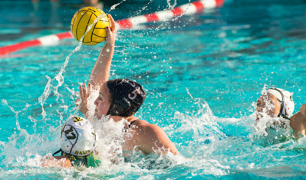 . La Serna High\'s Gabby Pierandozzi takes a goal shot vs Temple City High in the CIF-SS girls water polo first-round game at Whittier High Feb. 14, 2013.   (SGVN/Staff photo by Leo Jarzomb)