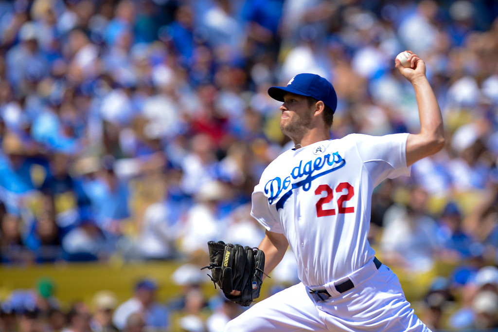 . Dodger\'s Clayton Kershaw started for the Dodgers against the Giants at opening day at Dodger Stadium Monday.  Photo by David Crane/Los Angeles Daily News.