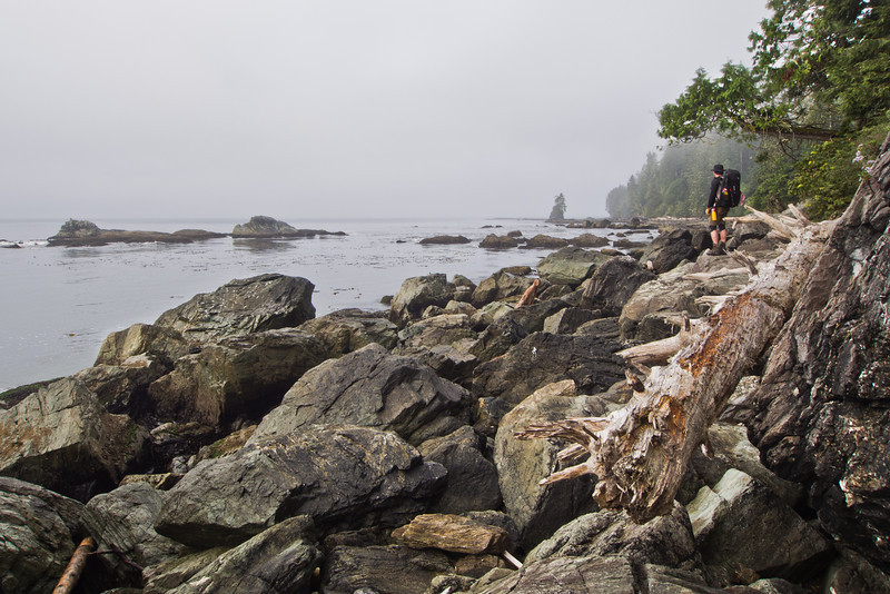 Hiker on the route to Owen Point